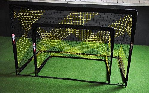 POWERSHOT Fußballtor Pop up - 2 Größen zur Auswahl - 2er Set - faltbares Garten Fußballtor für Kinder in Schwarz/Gelb (120 x 90cm)