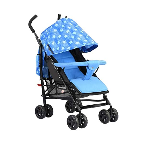 JIAX Foldable Baby Stroller,Travel System with Baby Basket Anti- Newborn Baby Pushchair Adjustable High View Pram Travel System Infant Carriage Pushchair (Color : Blue) JIAX ✤FUNCTION: The stroller can be used as a bed for babies aged 0-6 months. In addition, it can be replaced with a seat suitable for children aged 7-36 months. ✤GLOWING POINT: Only one step for braking or releasing the stroller, firm, wear-resistant, comfortable cushion, sitting mode, half-lay mode, flat-lay mode ✤MORE FEATURES: high enough to protect your baby from dust, can be paired with a dining table like a chair, and the canopy can be adjusted according to the weather 1