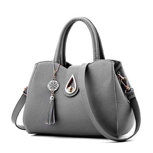Sac à main Sacs Messenger Femmes Arrivel cuir PU Sac fourre-tout sac Femmes Tassel célèbre Top-Handle sacs gris foncé 20cmXLongueur maxX30 cm