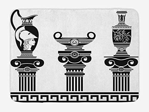 Trsdshorts Toga Party Bath Mat, Set of Hellenic Vases and Ionic Columns Artistic Design Amphora Antiquity, Plush Bathroom Decor Mat with Non Slip Backing, 23.6 x 15.7 Inches, Black and White