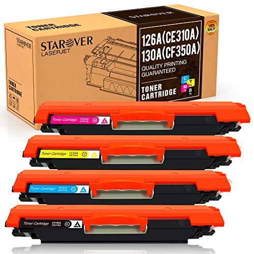 STAROVER 4x Kompatible Tonerkartuschen für HP 126A (CE310A CE311A CE312A CE313A) für HP LaserJet Pro 100 color MFP M175 M175A M175nw M275 M275NW MFP CP1020 CP1025 CP1025nw M176 M176FN M177 M177FW