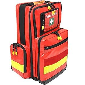 Notfallrucksack Medicus/PRO – LEER – rot aus Plane mit gelben Reflexstreifen