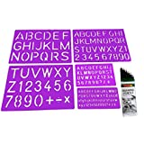Designers Point Alphabets Lettering Stencil, 10mm-15mm-30mm-40mm with Drawing Pencil - Set of 6