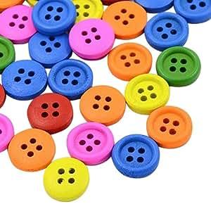 Pandahall 100PCS Bottoni in Legno Bottoni Colorati Bottoni Decorativi 4 Fori, Tinto, Piatto Rotondo, Colore Misto, 18x4mm, Foro: 1.5mm