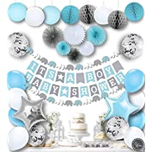 RainMeadow Premium Baby Shower Decorations for Boys Kit | It's A BOY | Garland Bunting Banner Paper Lanterns Honeycomb Balls | Tissue Paper Fans | Blue Grey White | Elephant Style