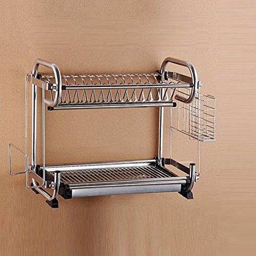 GRY An der Wand befestigtes oder gesetztes Küche-Multifunktionsregal-Doppelt-Schichten Edelstahl-Teller-Regal/Abfluss-Regal/Abtropfgestell/Messer-Halter/Schalen-Regal,42 * 25 * 39 cm,Mit Mess