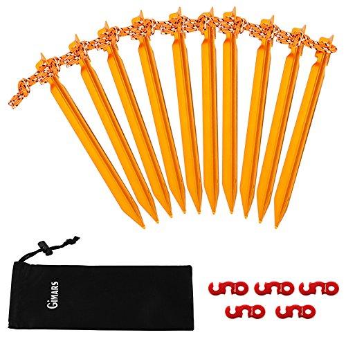 10-er Zeltheringe & 5-er Seilspanner, GIMARS Heringe Erdnagel mit Seil Ideal für Camping, Strand, Außen, golden