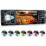 XOMAX XM-VRSU415BT radio para coche/coche + 10 cm/4'' pantalla de alta definición HD + de vídeo y Audio: MP3 incl ID3 TAG, WMA, MPEG4, AVI, DIVX etc, + Bluetooth manos libres y reproducción de música via A2DP + 7 colores de iluminación ajustable + Conexión USB hasta 128 GB! + ranura para tarjetas Micro SD de hasta 128 GB! + Single DIN (1 DIN) Tamaño de instalación estándar + con Control remoto con pila y marco