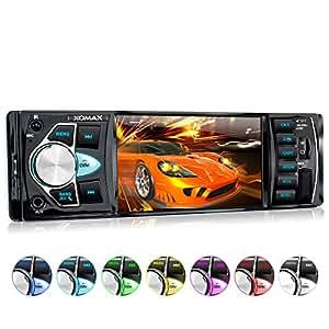 """XOMAX XM-VRSU415BT Autoradio / Moniceiver + 10 cm / 4"""" High Definition HD Display + Audio & Video: MP3 inkl ID3 TAG, WMA, MPEG4, AVI, etc. + Bluetooth Freisprecheinrichtung & Musikwiedergabe via A2DP + Beleuchtungsfarben: 7 Farben + USB Anschluss bis 128 GB! + Micro SD Kartenslot bis 128 GB! + Video-IN / Out + AUX IN + Single DIN (1 DIN) Standard Einbaugröße + inkl. Einbaurahmen, Fernbedienung"""