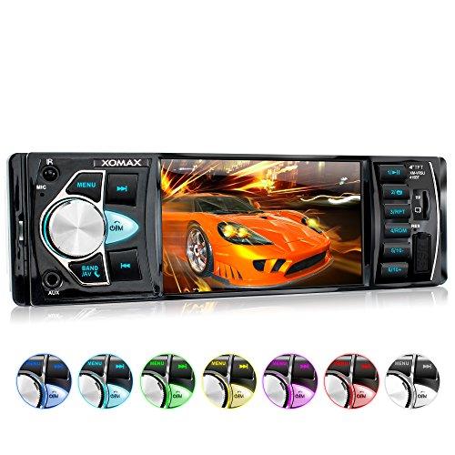 XOMAX XM-VRSU415BT radio para coche/coche + 10 cm/4'' pantalla de alta definición HD + de vídeo y Audio: MP3 incl ID3 TAG, WMA, MPEG4, AVI, etc, + Bluetooth manos libres y reproducción de música via A2DP + 7 colores de iluminación ajustable + Conexión USB hasta 128 GB! + ranura para tarjetas Micro SD de hasta 128 GB! + Single DIN (1 DIN) Tamaño de instalación estándar + con Control remoto con pila y marco