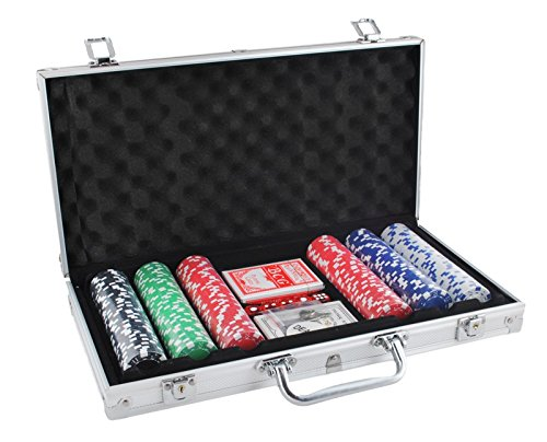Pokerkoffer Pokerset Poker Set Laser Pokerchips 300 Chips Koffer Jetons #1755