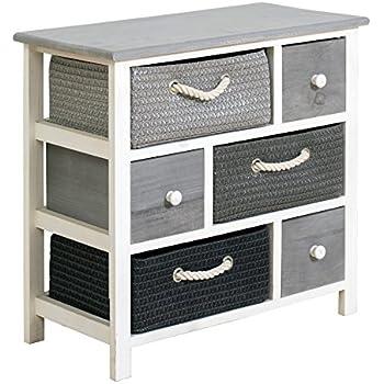 Amazing Rebecca Srl Chest Of Drawers Cabinet 6 Drawers REBECCA VIMINI Wood Wicker  White Grey Modern Bedroom