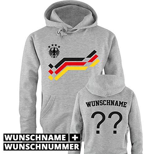 Comedy Shirts EM 2016 - Retro-Trikot - WUNSCHDRUCK - Herren Hoodie - Grau/Schwarz-Rot-Gelb Gr. XL