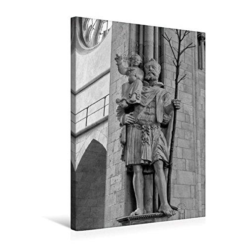 Calvendo Premium Textil-Leinwand 50 cm x 75 cm hoch, Christopherusstatue im St. Paulus Dom | Wandbild, Bild auf Keilrahmen, Fertigbild auf echter Leinwand. Münster in schwarz und weiß Orte Orte