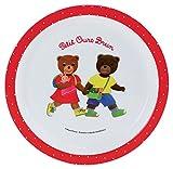 FUN HOUSE 005441 Petit Ours Brun Assiette Micro-ondable pour Enfant Polypropylène, Blanche, 22 x 22 x 1 cm