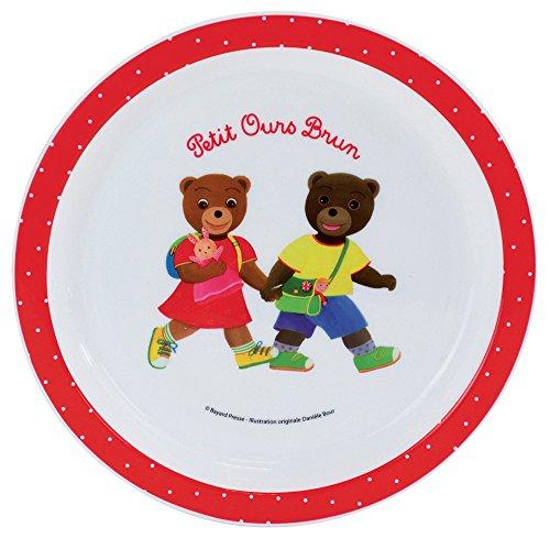 FUN HOUSE 005441 Petit Ours Brun Assiette Micro-Ondable pour Enfant Polypropylène Blanche 22 x 22 x 1 cm