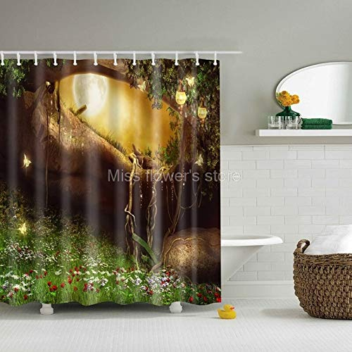 Designer Shower Curtain - Dream Flower Tree Cave Stone Design Custom Shower Curtain Bathroom Waterproof Mildewproof Polyester - Islamic Custom Curtains Shower Bath Sets Designer Rugs Curtain Rods -