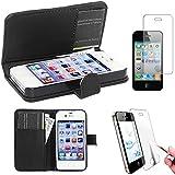 ebestStar - pour Apple iPhone 4S, 4 - Housse Coque Etui Portefeuille Support PU Cuir + Film protection écran en VERRE Trempé, Couleur Noir [Dimensions PRECISES de votre appareil : 115.2 x 58.6 x 9.3 mm, écran 3.5'']