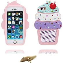 Carcasa iPhone 5 Csae, TPU Material flexible Funda iPhone 5S SE 5G 5C Cover Shell , [ 3D Cartoon Cereza Helado ] - Pretty Soft soporte de anillo