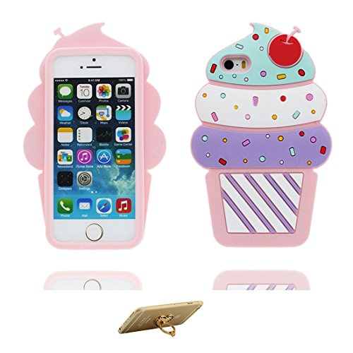 iPhone 5 Hülle, Cover iPhone 5S 5C 5G Handyhülle, TPU Skin Gummi weich Shell iPhone SE case, Staub Kratzer beständig (3D Cartoon Kirsche Ice Cream) & Ring Ständer Lovely # 1