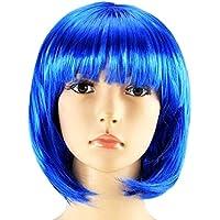 Peluca Corta De Pelo Bob Cosplay Para Mujeres Mujer ( Color Azul )