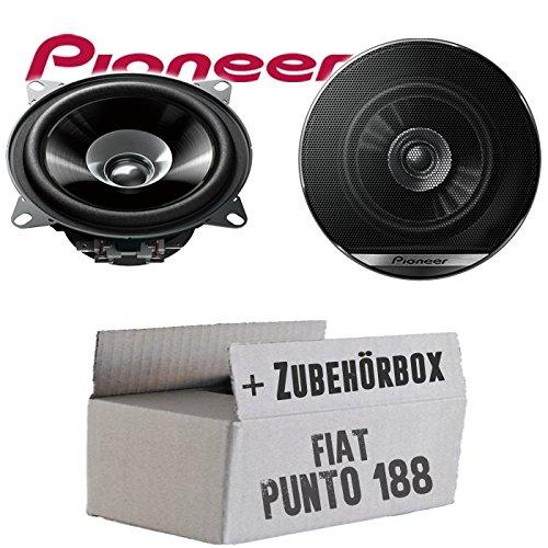 Lautsprecher Boxen Pioneer TS-G1010F - 10cm Doppelkonus 100mm PKW KFZ Auto 190W Paar Einbausatz - Einbauset für FIAT Punto 2 188 Heck - JUST SOUND best choice for caraudio