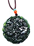 Collar pendiente verde chino negro del dragón del jade de la jadeíta