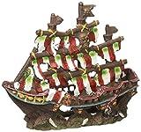 Penn-Plax gestreifte Segel Schiffswrack–Kleine