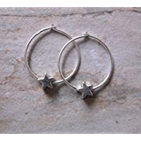 SALE. Sterling Silver Star Hoop Earrings