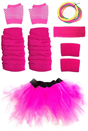 Neon Pink Tutu, Gloves, Sweatbands, Headband, Leg Warmers, Bangles
