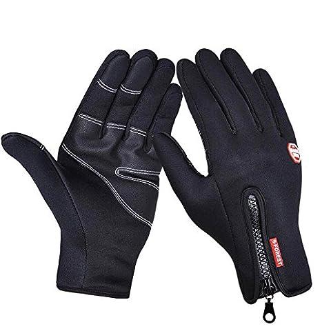 IKuaFly des Gants Fermeture éclair Tactiles Polaire Hiver- Moto Golf Ski Vvt Velo Running Windstopper- Homme Femme Noir Gym Gloves
