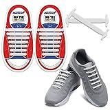 Homar Durable Kinder-Sport-Fan Shoelaces - Best in No Tie Schnürsenkel Ersatz Zubehör - Gummi Kinder Elastische Sportlauf Schnürsenkel Flache Schnürsenkel für Sneakers Boots Oxford - White