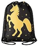 Aminata Kids - Kinder-Turnbeutel für Mädchen und Damen mit Unicorn Sache-n Pferd-e Haus-Tiere...