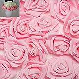 100pcs 2.8inch Foam Rose Heads Artificial Flowers Pink Wedding Bride Bouquet Party Decor DIY