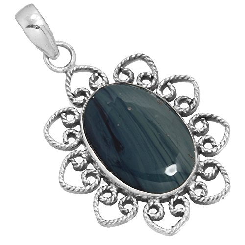 Jeweloporium Natural Blue Copper Agate Gemstone Designer Jewelry Solid 925 Sterling Silver Pendant