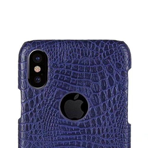 iPhone 8 Hülle,Valenth Crocodile Partern Anti Kratzfestes voll schützende harte Plastikabdeckung Hülle für iPhone 8 Blau