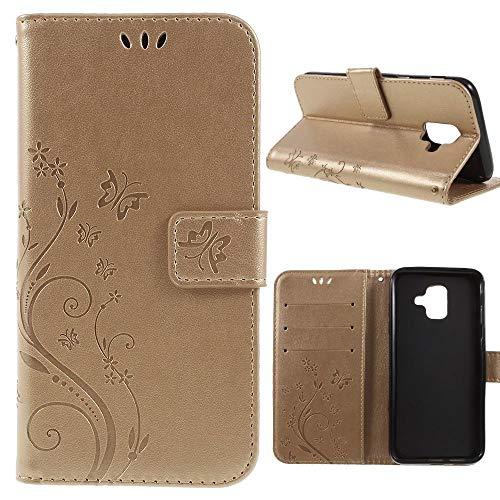 Samsung Galaxy A6 (2018) Wallet Case Butterfly Flower Motiv Handy Tasche Klapp Etui Schutz Hülle Bag Gold -