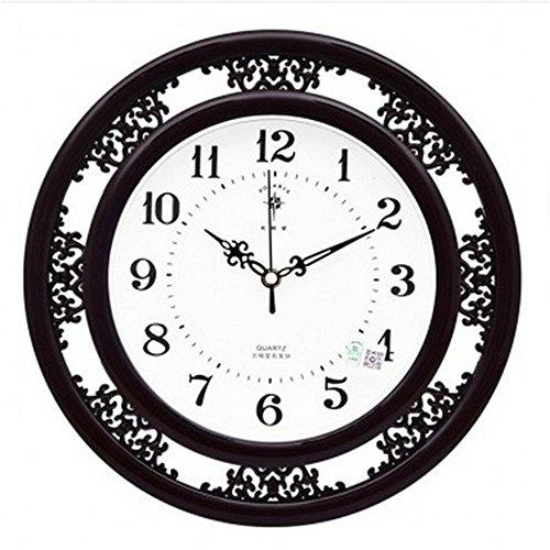 Ziffer Batterie (KKLOCK Wanduhr Uhr Wanduhren Lautlos für Wohnzimmer Büro Schlafzimmer Küche Kinderzimmer Mini Einfache AA Batterie Ø35cm Runde Retro Nostalgie mit Ziffern Cartoon Uhren [Enthält keine Batterie] (Schwarz))