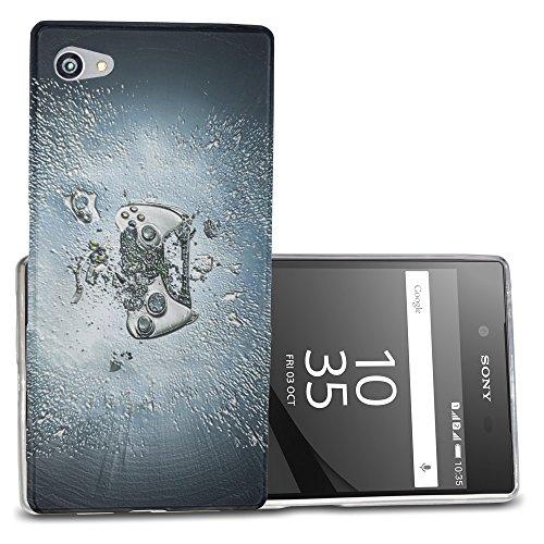 Abstrakt 10121, Playstation, Das Kristallklare Ultradünn Gel Crystal Silikon Handyhülle Schutzhülle Handyschale mit Strukturierte Design für Sony Xperia Z5 Compact