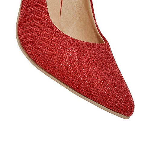 VogueZone009 Femme Couleur Unie Pu Cuir Stylet Pointu Tire Chaussures Légeres Rouge