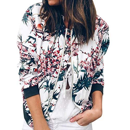 (YOUBan Hoodies Damen Retro Floral Reißverschluss bis Bomber Jacke Lässiger Mantel Outwear Kapuzenpullover Sweatshirt Sweater Sexy Tracksuit Herbst Mantel Bluse)