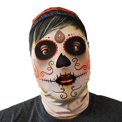gruselig Halloween Gesichtsmaske Zigeuner Tag der Toten Design Kostüm Horror Lycra