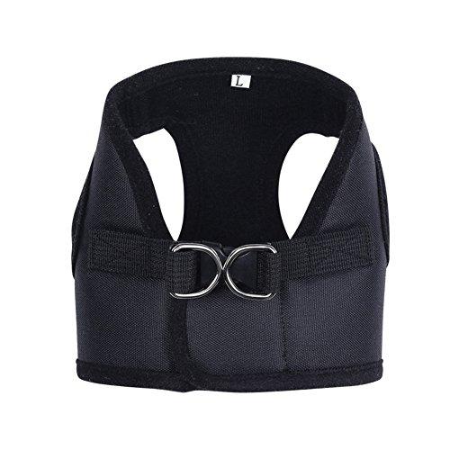 Contever® Verstellbar Rückseite Clip Harness Hundegeschirr Welpengeschirr Softgeschirr Brustgeschirr Halsbänder mit Leine (L: Brustumfang 34-38cm)-Schwarz - 2