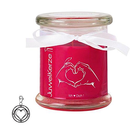 """JuwelKerze""""Ich liebe Dich"""" – Kerze im Glas mit Schmuck – Grosse rote Duftkerze mit Überraschung als Geschenk für Sie (925 Sterling Silber Charm, Brenndauer: 60 Stunden)"""