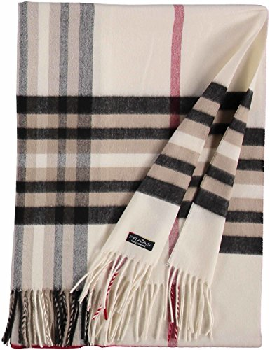 FRAAS Damen-Schal kariert aus Cashmink weicher als Kaschmir - extra warm für den Winter, Weiß (Off White 20), One size