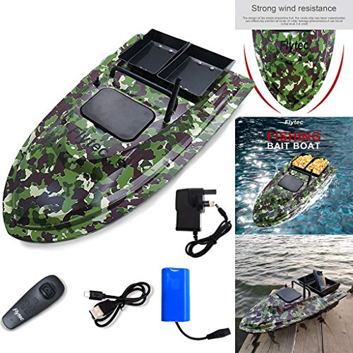 Flytec 2019 Latest Release Fishing Bait Boat Multifunctional Remote Control 1.5kg Loading - 2pcs Fish Tanks - Double Motor -500M/1640FT Remote Control RC Fish Bait Boat (Camouflage)