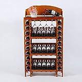 FPigSHS Porta Bottiglie da Vino Portabottiglie Espositore per Vino Scaffale Scaffale in Legno massello Cantinetta per UVA Cantinetta Scaffale Mensola Deposito Multi-Bottiglie (Colore : A)
