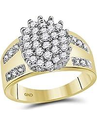 Sonia Jewels – Anillo de Compromiso de Oro Amarillo Ovalado de 4 – 10 K,