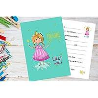 8 Stück Einladungskarten Kindergeburtstag mit Prinzessin personalisiert