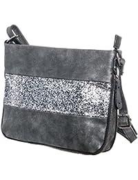 6ec17c758d083 Damen Tasche Umhängetasche klein mit Stern Glitzer cut out Vintage metallic  Look Schultertasche TPUSGK